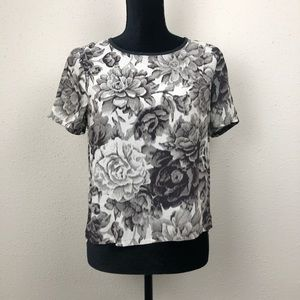 JOIE ABSTRACT FLORAL PRINT SHORT SLEEVE BLOUSE